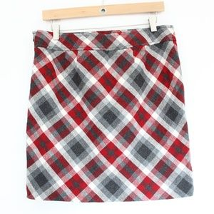 Loft Plaid Pencil Skirt sz 4 Wool Short